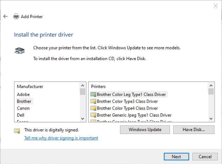 Choose the manufacturer and device type to install the correct printer driver.