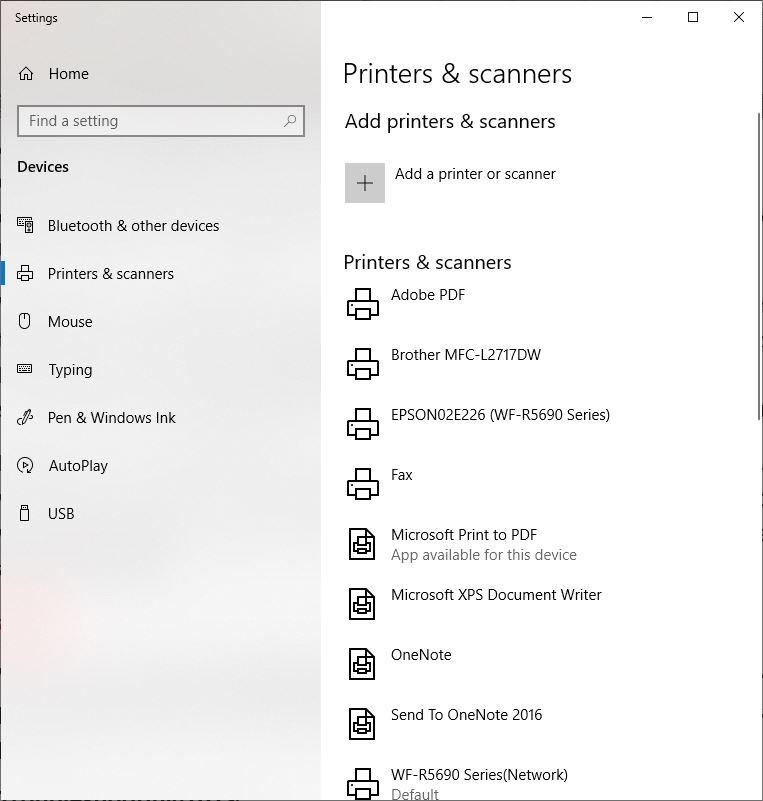 Find a Connected Printer