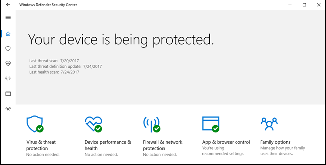 When you install Windows 10, you'll have an antivirus program already running. Windows Defender comes built-in to Windows 10, and automatically scans programs you open, downloads new definitions from Windows Update, and provides an interface you can use for in-depth scans. Best of all, it doesn't slow down your system, and mostly stays out of your way—which we can't say about most other antivirus programs.  RELATED: Do I Really Need Antivirus If I Browse Carefully and Use Common Sense?  For a short while, Microsoft's antivirus fell behind the others when it came to comparative antivirus software tests—way behind. It was bad enough that we recommended something else, but it's since bounced back, and now provides very good protection.  So in short, yes: Windows Defender is good enough (as long as you couple it with a good anti-malware program, as we mentioned above—more on that in a minute).