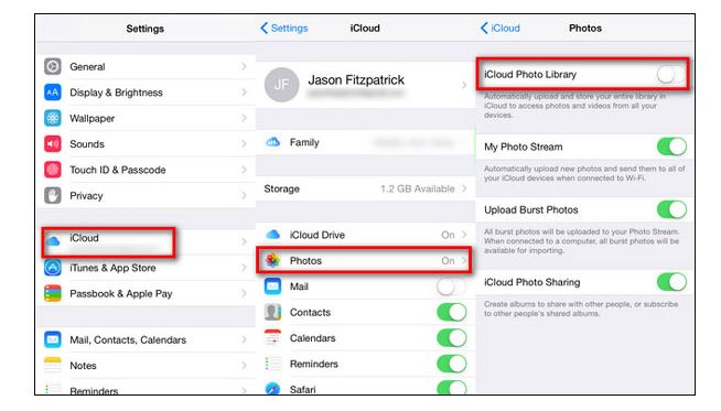 Disable iCloud Photo Library button