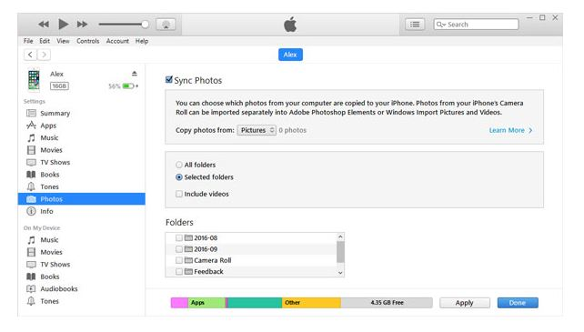 Use iTunes to delete photos on iPhone-iPad