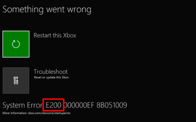 XBOX One Startup System Error